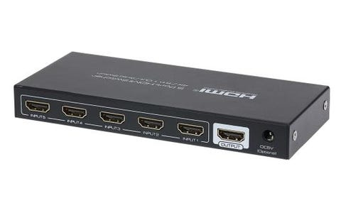 Maplin HDMI Switcher 5 Ports In 1 Port Out 4K 30Hz Resolution with Remote Control