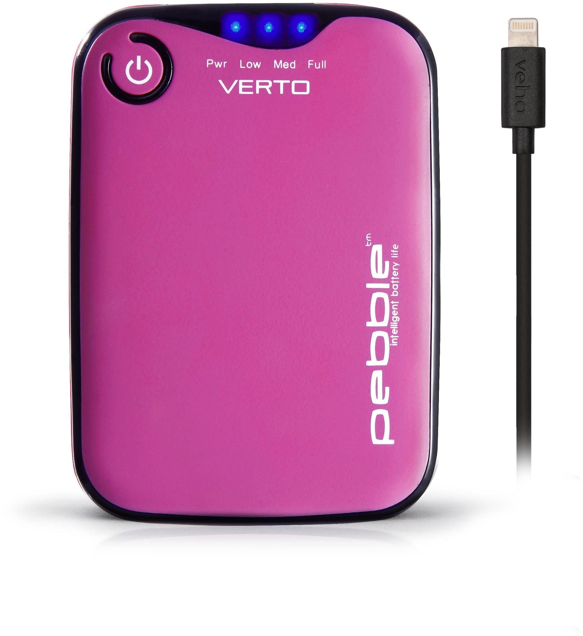 Veho Pebble Verto Pro 3700 mAh Portable Power Bank with Lightning Cable - Pink