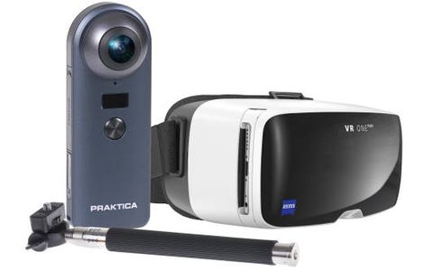 PRAKTICA Luxmedia Z 360 Degree 4K WiFi Camera with Selfie Stick & Zeiss VR Headset for iPhone & Samsung Smartphones