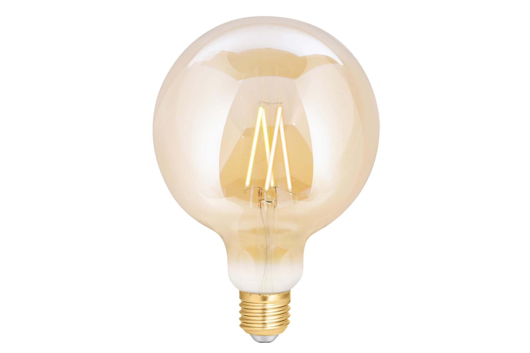 4lite WiZ Connected G125 Edison Filament LED Smart Bulb Amber White Dimmable WiFi  - E27 Screw