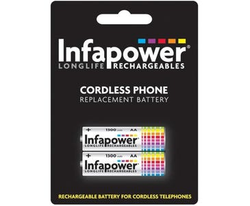 InfaPower Rechargeable Ni-MH for Cordless Telephones 2x AA Batteries