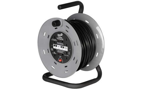 SMJ Electrical 4x 13A Socket Heavy Duty Steel Frame Extension Cable Reel (25m)