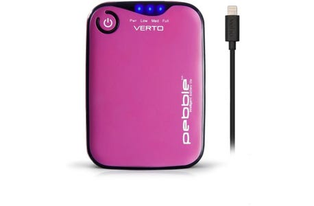 Veho Pebble Verto Pro Portable Power bank 3,700mAh Smartphone with Apple Lightning Cable - Pink