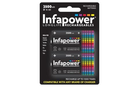 InfaPower D size 2500mAh Rechargeable Ni-MH Batteries