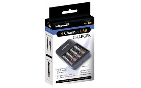 Infapower 4 Channel USB Home Battery Charger + 4 x AA 1300mAh Batteries