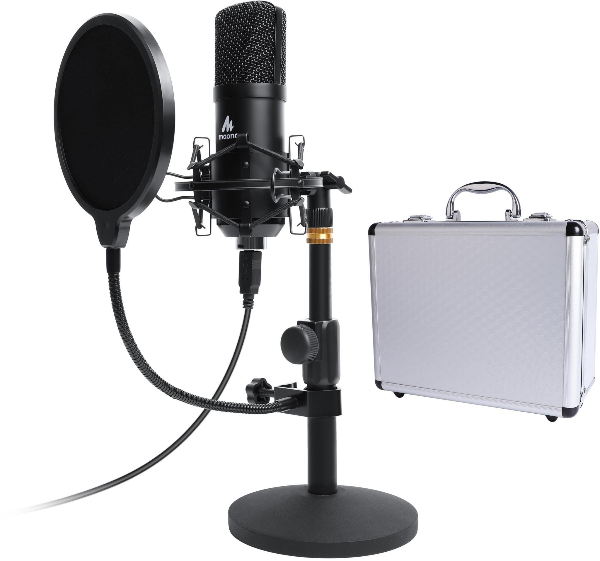 Maono Studio Table Top Microphone Kit including Pop Filter    Flight Case