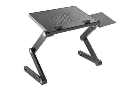 ProperAV Sit or Stand Up Laptop Desk with Mouse Pad Side Mount - Black