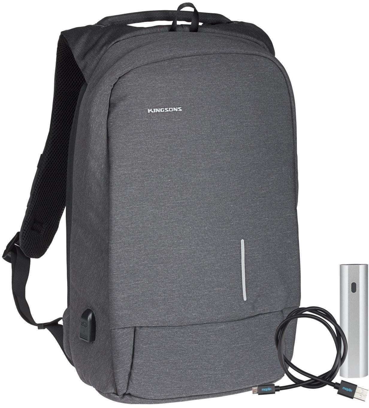 "Kingsons Smart Anti-Theft USB Series 15.6"" Laptop Backpack and Power Bank Bundle - Dark Grey"