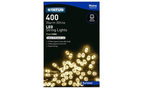Status Karlstad 400 Warm White LED String Lights Indoor/Outdoor 37m 8 Functions