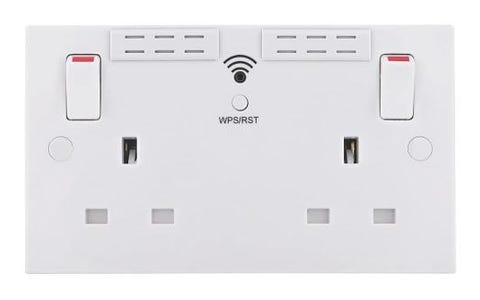British General Square Edge 13A 2 Gang Switched Socket with Wi-Fi Extender - White