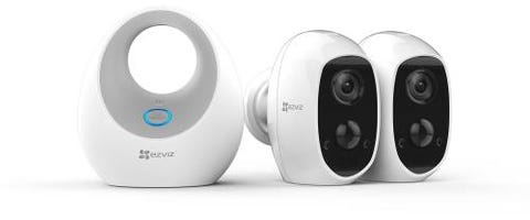 EZVIZ Twin Pack Full HD Indoor/Outdoor Wire-Free Wi-Fi Battery Camera & Hub with Built-in Siren