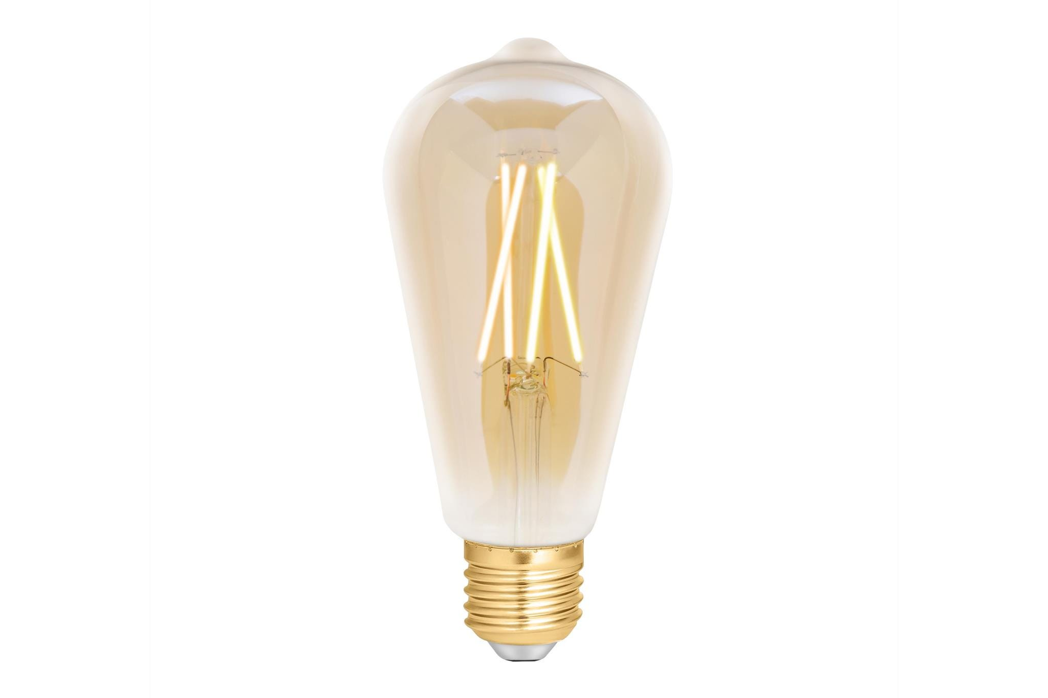 4lite WiZ Connected ST64 Edison Filament LED Smart Bulb Amber White Dimmable WiFi  - E27 Screw