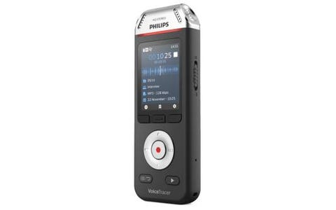 Philips DVT2110 8GB Digital VoiceTracer 2MIC Audio Recorder Stereo MP3 & PCM Recording - Black/Chrome