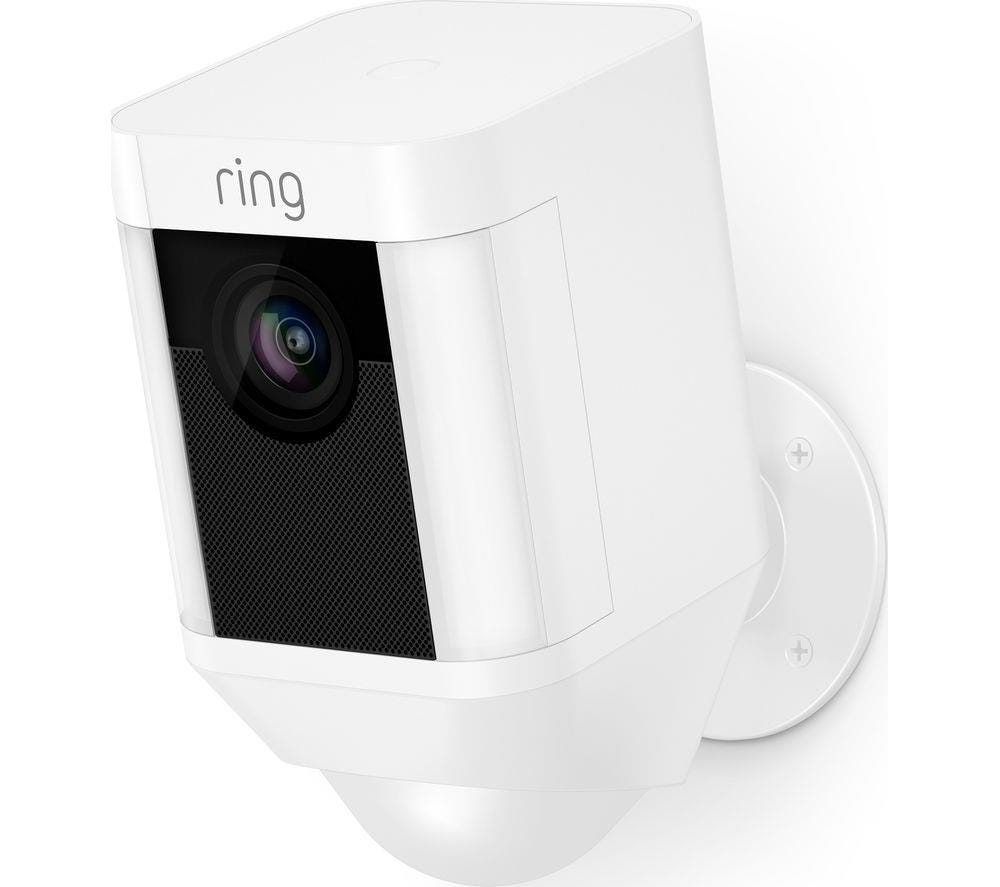 Ring Spotlight Outdoor Wire-Free Full HD Night-Vision Security Camera - White