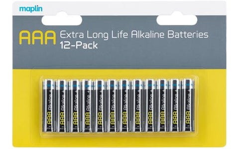 Maplin Extra Long Life High Performance Alkaline AAA Batteries (Pack of 12)