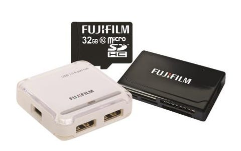 Fujifilm Micro SDHC 32GB Class 10 Card, USB Reader & 4 Port Hub Bundle