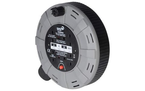 SMJ Electrical 4 Socket Easy Wind Compact Cable Reel (10m)