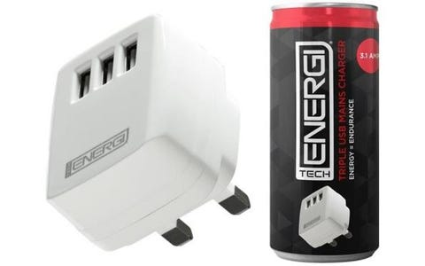Tech Energi Triple USB 3.1 Amp Mains Charger - White