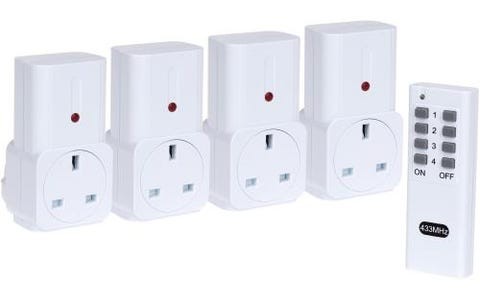 Maplin ORB Remote Controlled Mains Plug Socket Set 4 Pack with 1 Remote - White