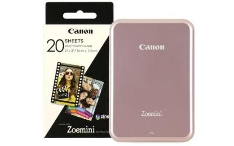 Canon Zoemini Slim Body Pocket Sized Photo Printer Rose Gold inc 30 Prints