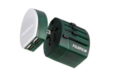 Fujifilm World Trip Dual USB Charger and Travel Adapter- Green