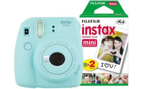 Fujifilm Instax Mini 9 Ice Blue Instant Camera inc 30 Shots - Ice Blue
