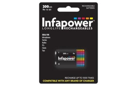 InfaPower Rechargeable Ni-Mh 9v 200mAh Battery