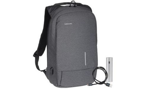 Kingsons Anti Theft USB Charge Backpack + Additional Micro USB Cable & Powerbank