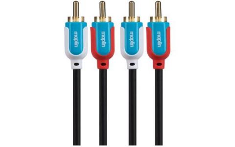 Maplin Premium Twin RCA Phono to Twin RCA Phono 2 Pole Terminal Cable 1.5m