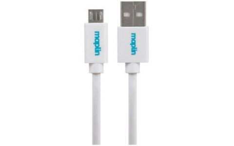 Maplin Premium USB A 2.0 Male to Micro USB B Male Cable 0.25m White