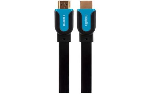 Maplin Premium HDMI Flat Cable Gold Connector 1080p 2K 4K 0.75m