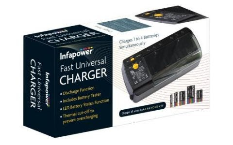 InfaPower Fast Universal Charger with Battery Tester