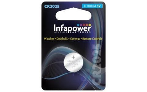 InfaPower CR2025 Lithium Coin Cell 3V Battery