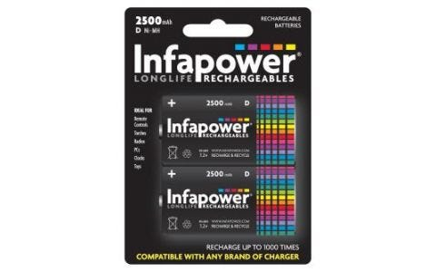 InfaPower Rechargeable Ni-Mh Batteries 2x D 2500mAh