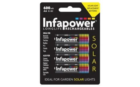 InfaPower Rechargeable Ni-Mh 4x AA 600mAh Solar Light Batteries