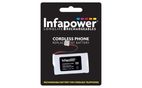 InfaPower Rechargeable Ni-Mh Battery for Cordless Telephones - 2x AA pack