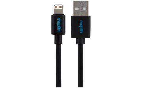 Maplin Premium Lightning Connector to USB A Male Cable 0.25m Black