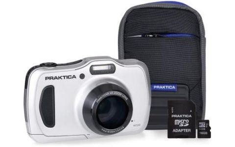 PRAKTICA Luxmedia WP240 Silver Camera Kit inc 16GB Micro SD Card and Case