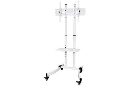 """ProperAV Portable TV Trolley Stand for 32""""-65"""" Screens -White"""