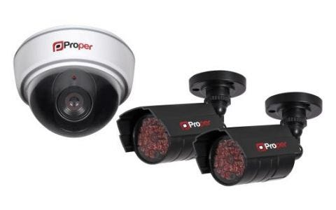ProperAV Imitation Security Camera Kit inc 1x Dome Camera 2x IR Cameras