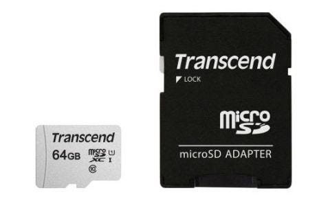 Transcend 64GB 300S UHS-I U1 MicroSD Card with Adapter