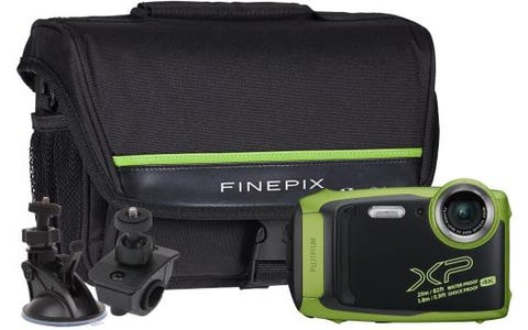 Fujifilm Finepix XP140 Camera Kit including Bicycle Mount, Large Suction Mount & Case - Lime