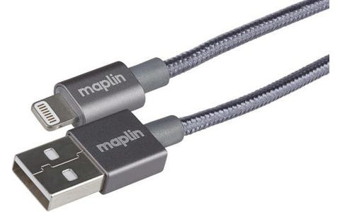 Maplin Pro Apple MFI Certified Tangle-Free Braided Lightning to USB-A 2.0 Cable - Space Grey, 1.5m