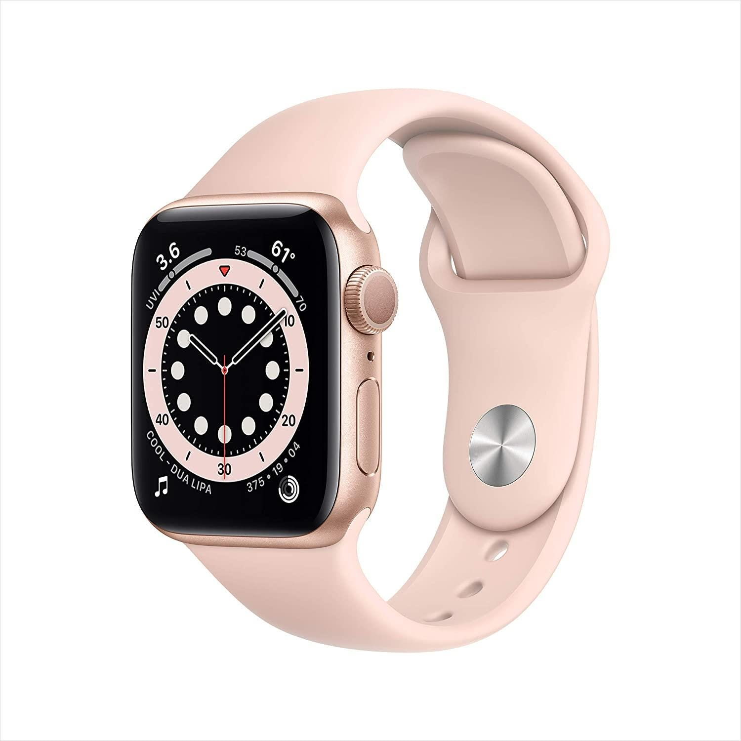 Apple GPS 40mm Watch Series 6 - Regular - Gold Aluminium Case with Pink Sand Sport Band