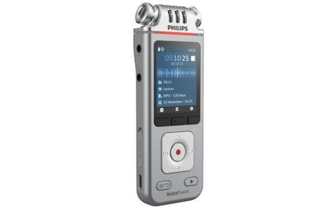 Philips DVT4110 8GB Digital VoiceTracer 3MIC Audio Recorder with Smartphone App - Silver/Chrome