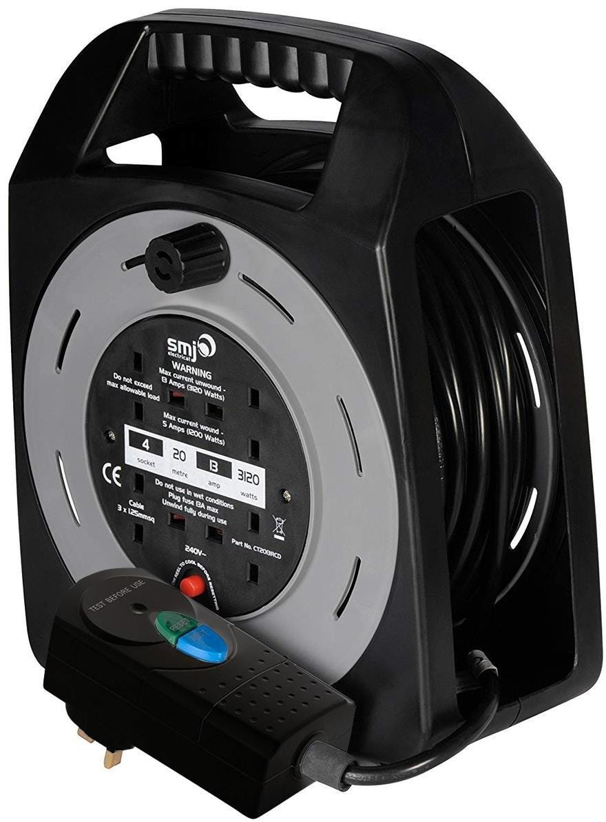 SMJ Electrical Easy Wind Compact 4-Socket Extension Cable Reel - 20m