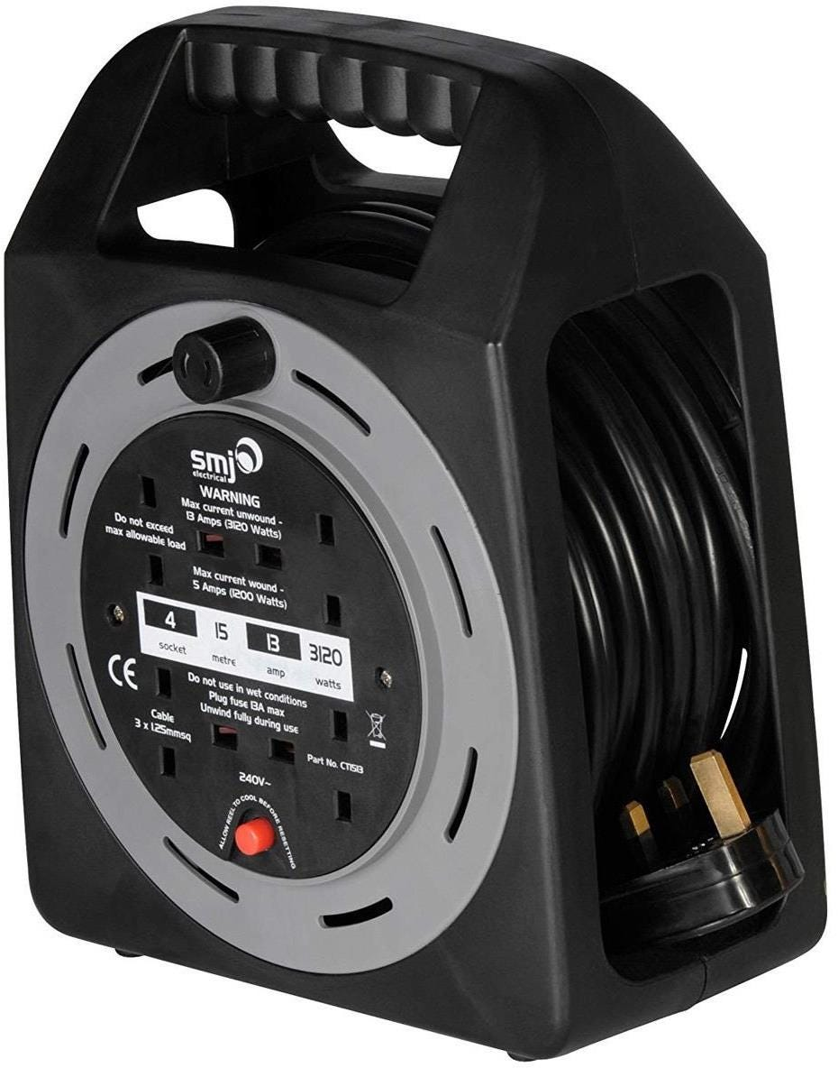 SMJ Electrical Easy Wind Compact 4-Socket Extension Cable Reel - 15m