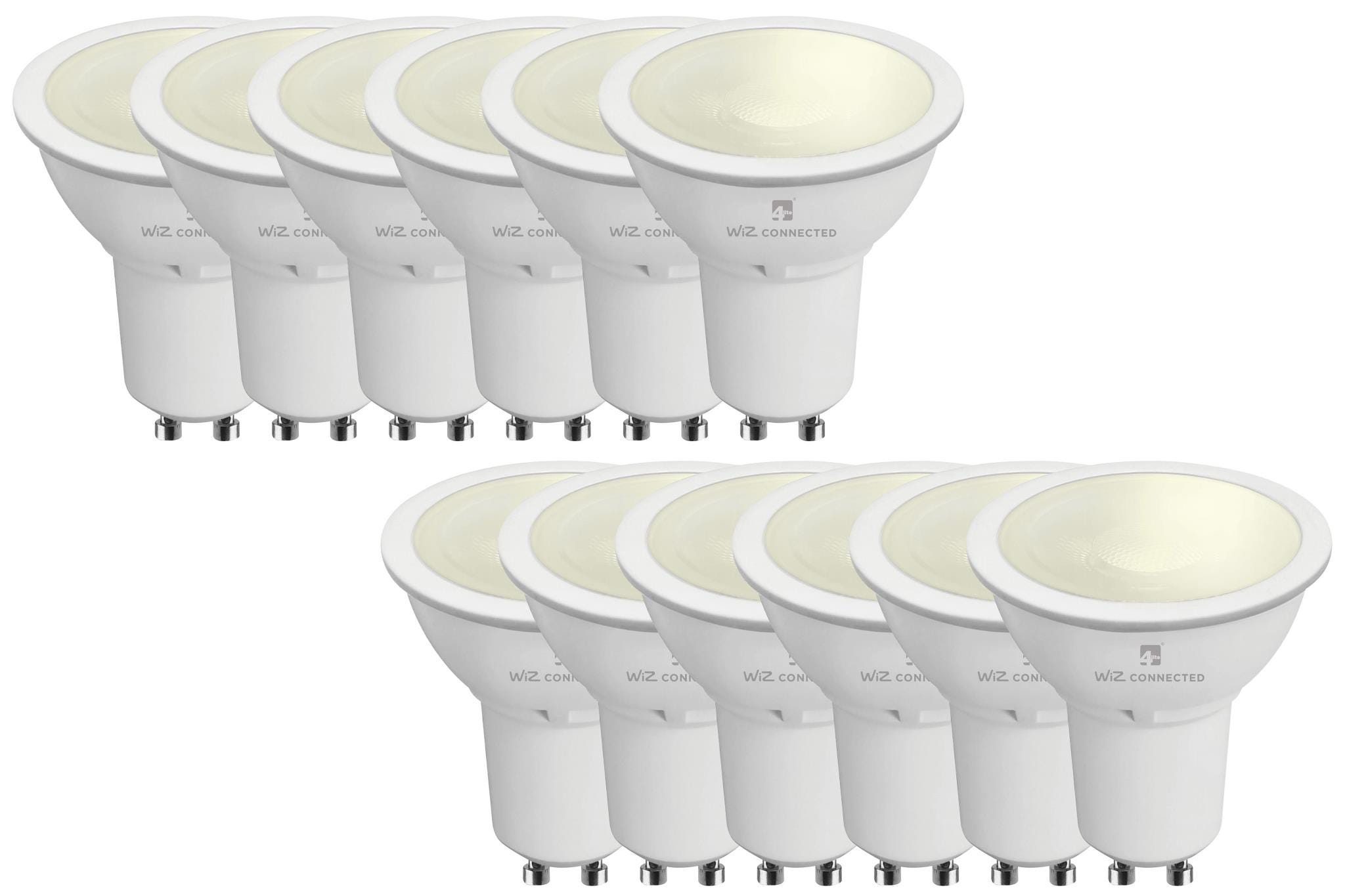 4lite Smart GU10 LED Bulb 350 Lumens Dimmable Wiz Connect Warm White 12 Pack