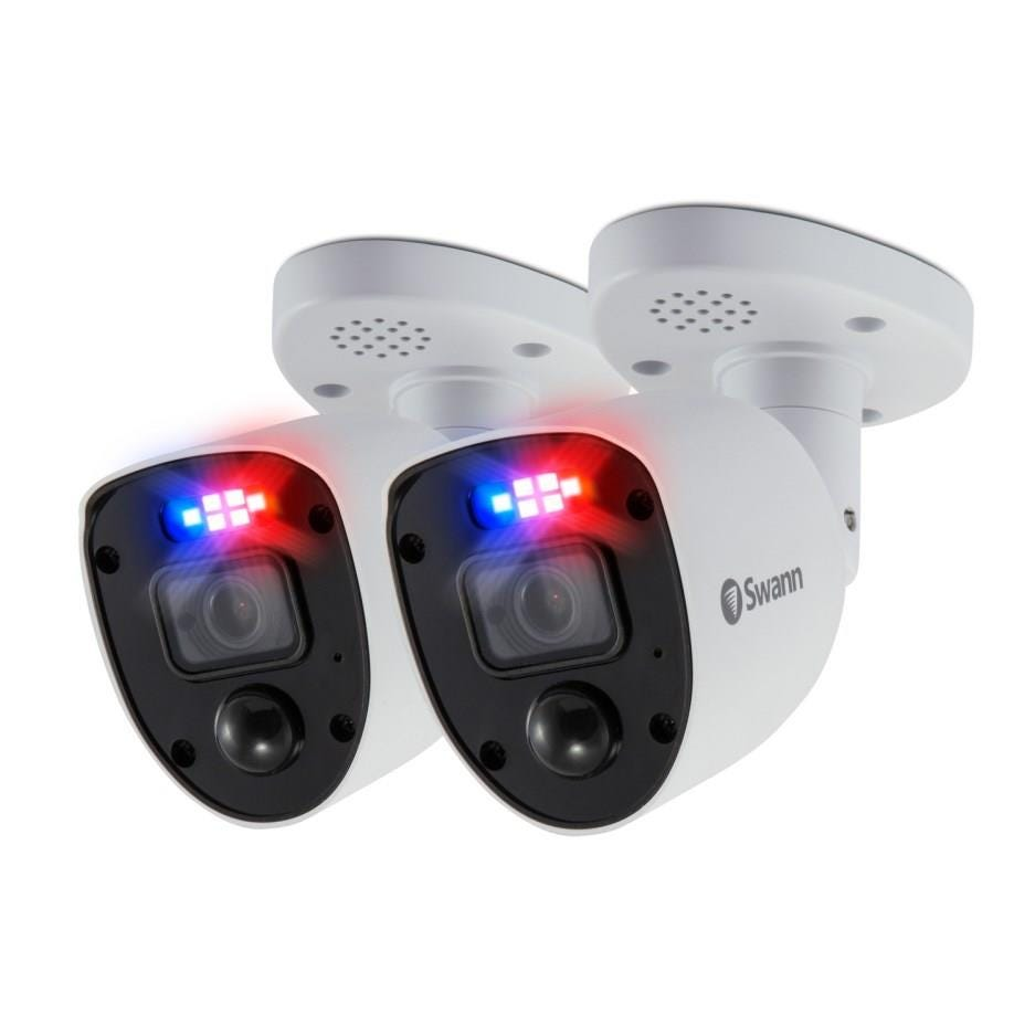 Swann Enforcer Indoor/ Outdoor Wired  4K Ultra HD Night-Vision Add-On Security Cameras (2 Pack) - Wh