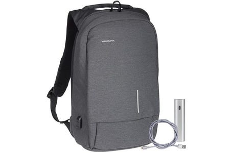 """Kingsons Smart Anti Theft USB Series up to 15.6"""" Laptop Backpack and Powerbank Bundle - Dark Grey"""